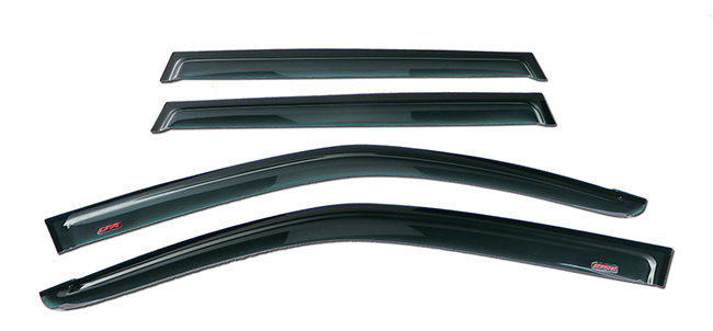 Shown: Set of Four WV-09F-TF Tape-On Outside-Mount Window Visor Rain Guards to fit 2009-2013 Subaru Forester