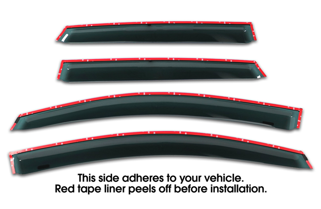 Shown with tape liner which peels off before installation: Set of Four WV-09V-TF Tape-On Outside-Mount Window Visor Rain Guards to fit 2009-15 Toyota  Venza