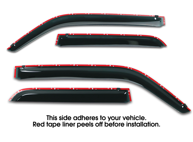 Shown with tape liner which peels off before installation: Set of Four WV-104R-TF Tape-On Outside-Mount Window Visor Rain Guards to fit 2010-2016 Toyota 4Runner