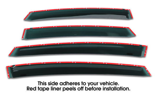 Shown with tape liner which peels off before installation: Set of Four WV-12PV-TF Tape-On Outside-Mount Window Visor Rain Guards to fit 2012-16 Toyota  Prius V