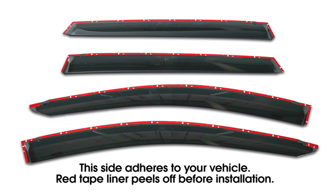 Shown with tape liner which peels off before installation: Set of Four WV-12R-TF Tape-On Outside-Mount Window Visor Rain Guards to fit 2013-17 Toyota  Rav4