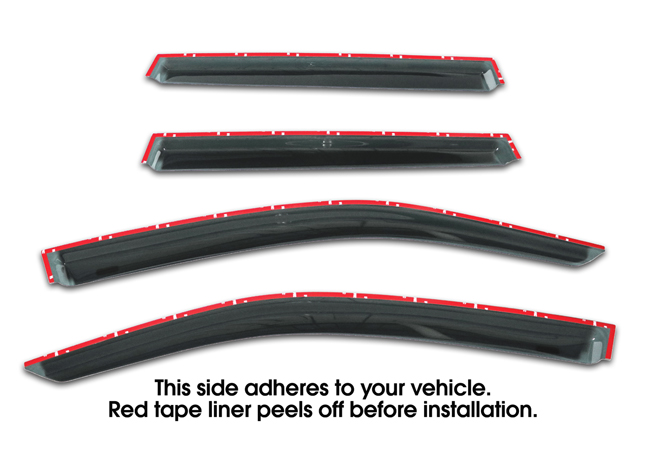 Shown with tape liner which peels off before installation: Set of four WV-14F-TF Tape-On Outside-Mount Window Visor Rain Guards to fit 2014-2018 Subaru Forester
