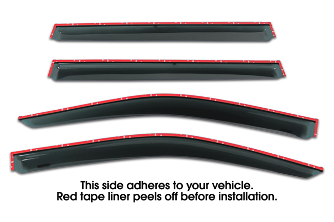 Shown with tape liner which peels off before installation: Set of Four WV-14H-TF Tape-On Outside-Mount Window Visor Rain Guards to fit 2014-2019 Toyota  Highlander