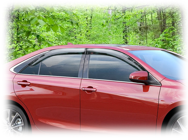 C&C CarWorx set of four Tape-On Outside-Mount Window Visor Rain Guards to fit 2015-16-17 Toyota  Camry models