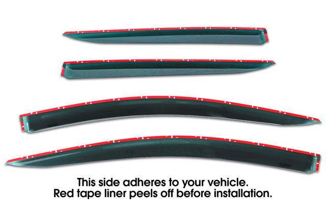 Shown with tape liner which peels off before installation: Set of Four WV-16P-TF Tape-On Outside-Mount Window Visor Rain Guards to fit 2016 Toyota  Prius XW30