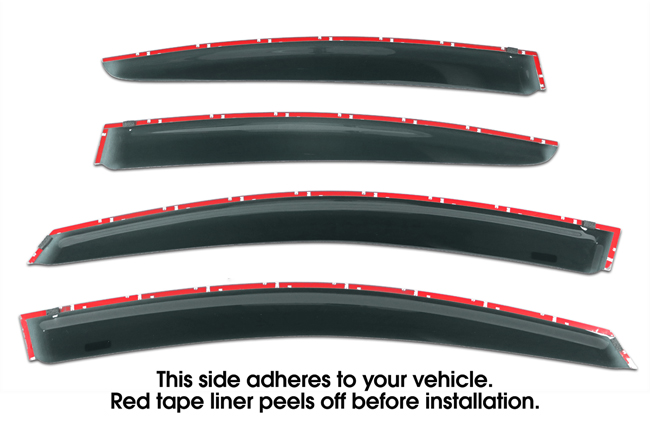 Shown with tape liner which peels off before installation: Set of Four WV-17SI-4-TF Tape-On Outside-Mount Window Visor Rain Guards to fit 2017-2018 Subaru Impreza Sedan  excluding WRX & STI models