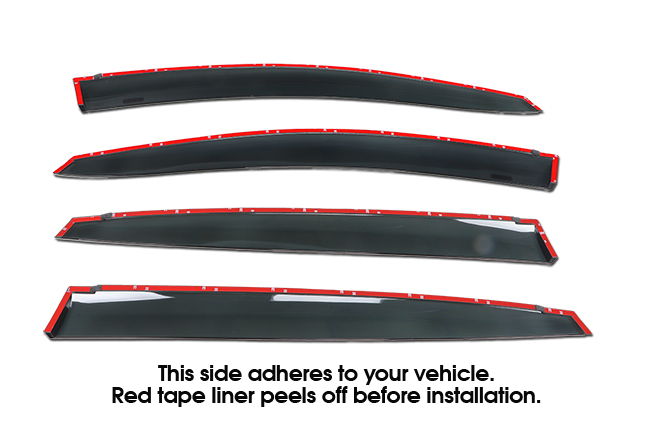 Shown with tape liner which peels off before installation: Set of Four WV-17SI-5-TI-ct Tape-On Outside-Mount Window Visor Rain Guards to fit 2018-2019 Subaru Crosstrek