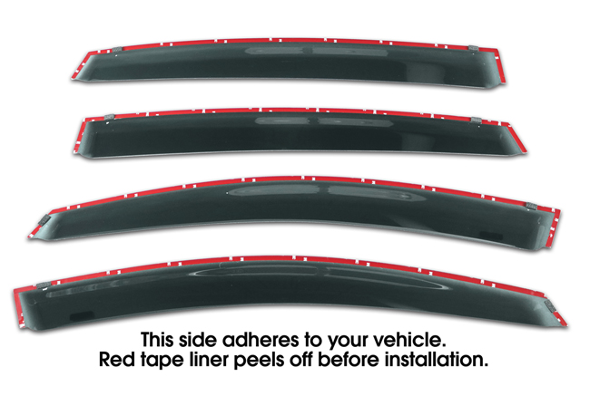 Shown with tape liner which peels off before installation: Set of Four WV-17SI-5-TF-ct Tape-On Outside-Mount Window Visor Rain Guards to fit 2018 Subaru Crosstrek