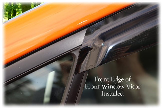 Custom-made by C&C CarWorx to fit your model's exact window dimensions for a precise installation: shown is the front edge of the front window visor.