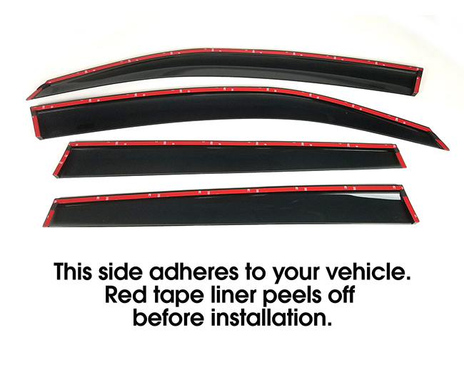 Shown with tape liner which peels off before installation: Set of four WV-19F-TF Tape-On Outside-Mount Window Visor Rain Guards to fit 2019-2020-2021 Subaru Forester