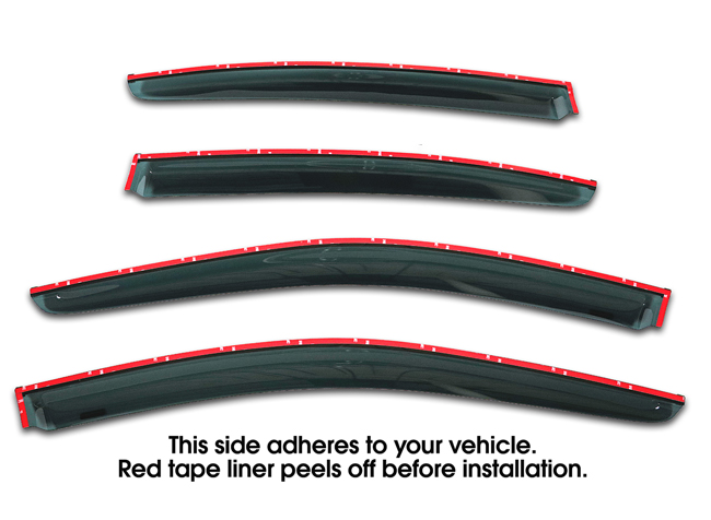 Shown with tape liner which peels off before installation: Set of 4  WV-LS-10-TF Tape-On Outside-Mount Window Visor Rain Guards With Chrome-Style Accent Trim to fit 2010-2014 Subaru Legacy Sedan