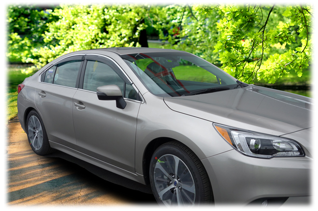 Customer testimonials confirm overwhelming satisfaction with the Set of 4 Tape-On Outside-Mount Window Visor Rain Guards With Chrome-Style Accent Trim to fit 2015-2019 Subaru Legacy Sedan by C&C CarWorx