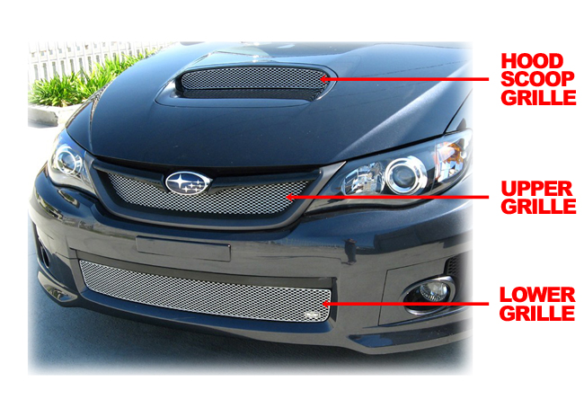 C&C CarWorx offers this aftermarket 3-Grille Set (Upper, Lower, & Hood Scoop) to fit  2008-2010 STI available in silver and black by Grillcraft.