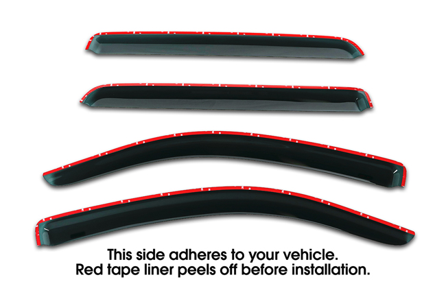 Shown with tape liner which peels off before installation: Set of Four WV-07TUC-TF Tape-On Outside-Mount Window Visor Rain Guards to fit 2007-16 Toyota® Tundra® CrewMax