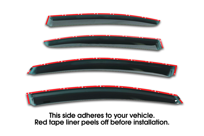 Shown with tape liner which peels off before installation: Set of 4 WV-12IS-TF Tape-On Outside-Mount Window Visor Rain Guards to fit 2012-2013-2014-2015-2016 Subaru® Impreza Sedan excluding WRX & STI models