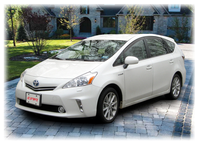 C&C CarWorx set of four tape-on Window Visor Rain Guards to fit 2012-13-14-15-16 Toyota Prius V models