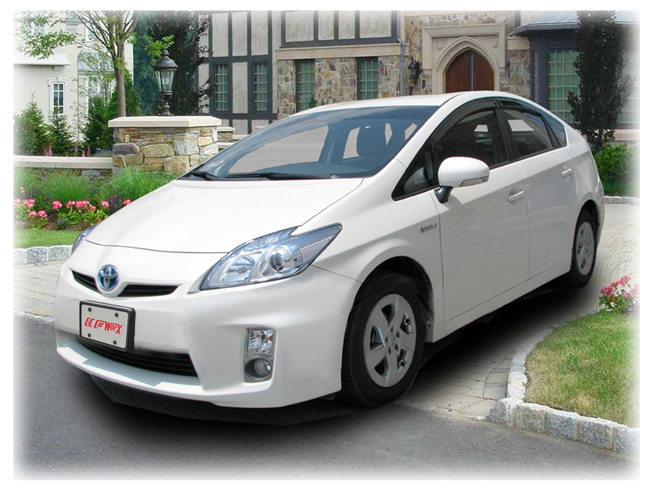 C&C CarWorx set of four Tape-On Outside-Mount Window Visor Rain Guards to fit 2011-12-13-14-15 Toyota Prius XW30 models