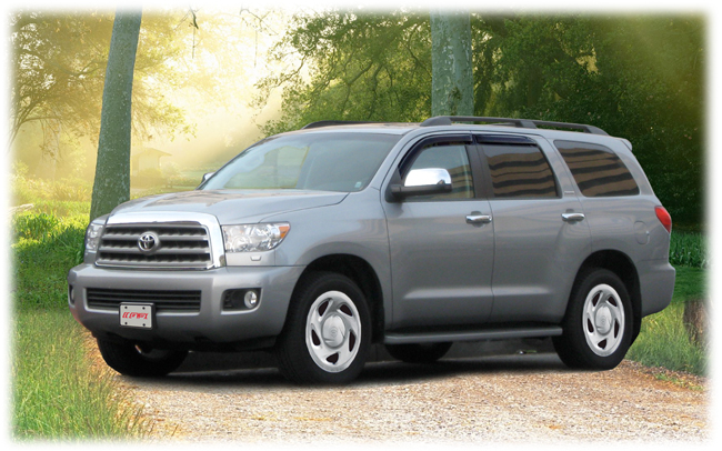 C&C CarWorx set of four Tape-On Outside-Mount Window Visor Rain Guards to fit 2008-2016 Toyota Sequoia models