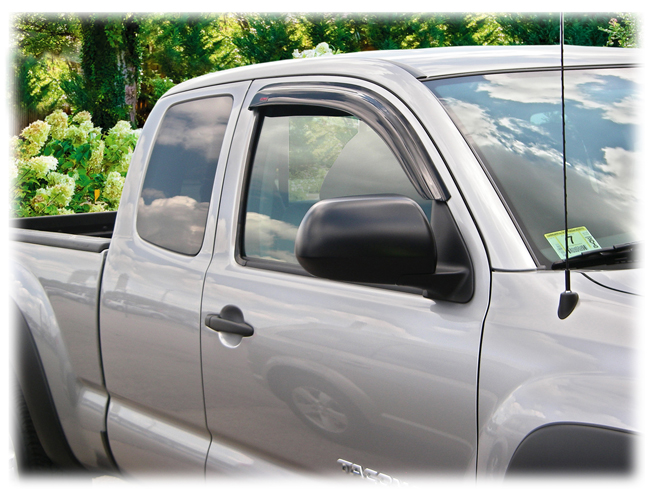C&C CarWorx set of two Tape-On Outside-Mount Window Visor Rain Guards to fit 2005-06-07-08-09-10-11-12-13-14-15-16 Toyota Tacoma Access Cab models