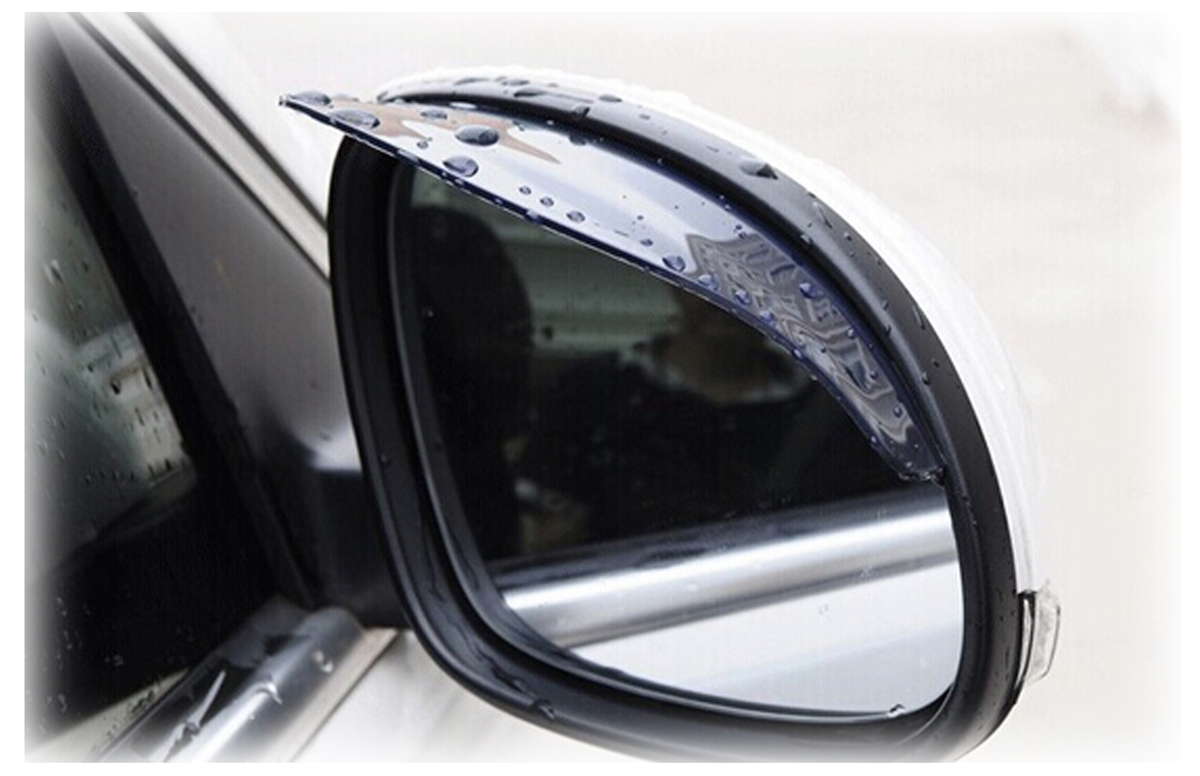 Snowmobile Side Mirrors : Side mirror rain visor universal weather guard set of