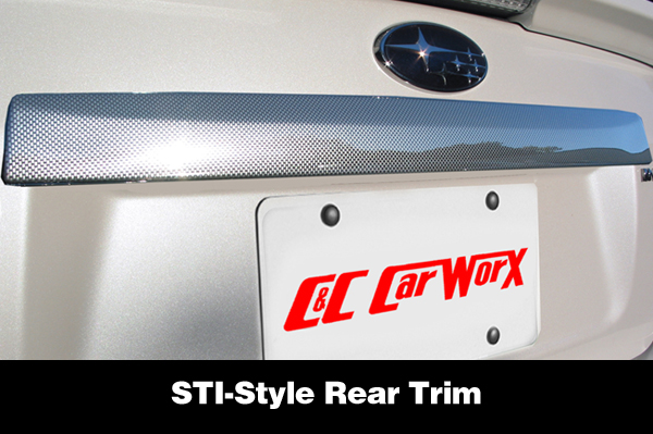 Shown is an STI-Style faux carbon fiber rear trunk trim for the Subaru Impreza Sedan