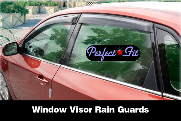 Shown are Perfect-Fit® Window Visor Rain Guards on a Subaru Impreza