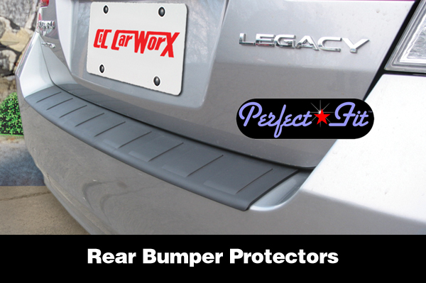 Shown is a Perfect-Fit® Rear Step Plate Bumper Cover Guard on a Subaru Legacy Sedan