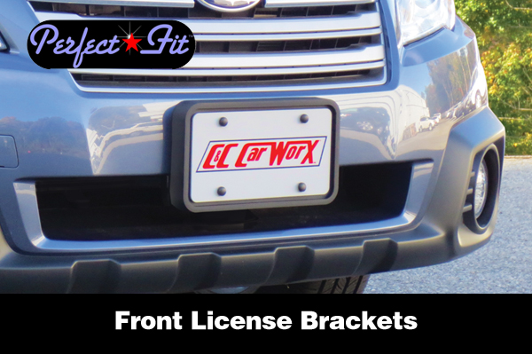 Shown is a Perfect-Fit® Front License Plate Bracket on a Subaru Outback Wagon