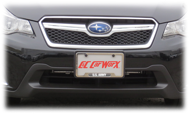 the installed cc carworx front license bracket on the front end of the 2016 subaru crosstrek
