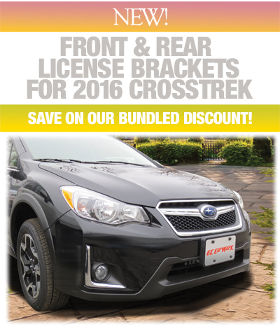 New for 2016 Crosstrek! Front & Rear License Brackets Available Individually or as a Bundled Discounted Set!