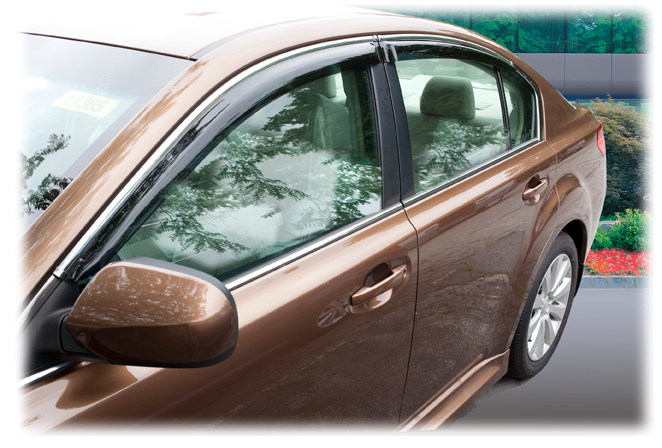 The 2010, 2011, 2012, 2013, 2014 Subaru Legacy Sedan Can Be Equipped With  Our Perfect Fit® Tape On Window Visor Rain Guards