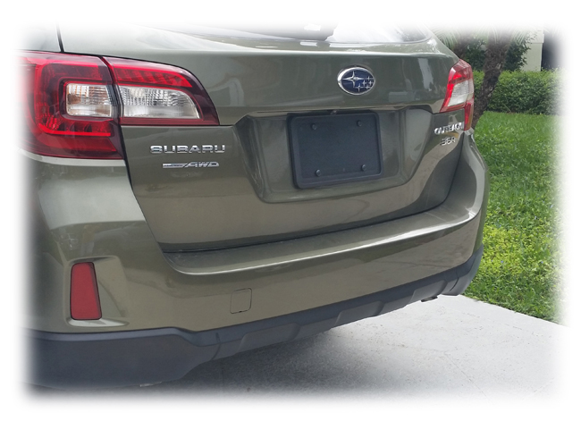 The C&C CarwWorx Rear License Bracket shown on a Subaru Outback