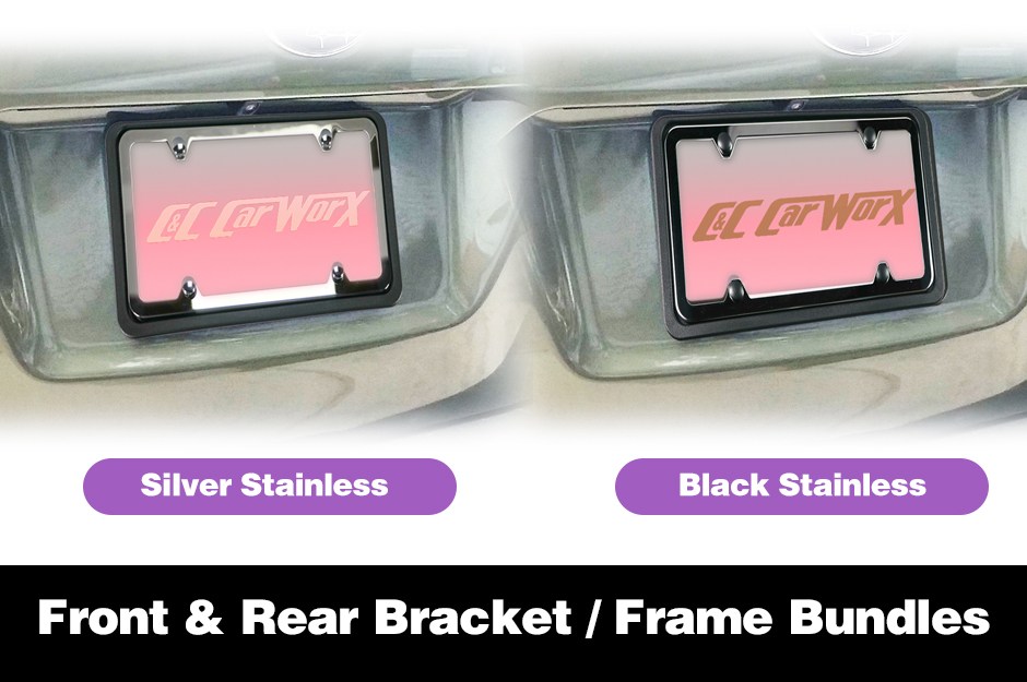 C&C_CarWorx_Bundled_Rear_License_Brackets_Frames_in_Silver_or_Black_Stainless_Steel