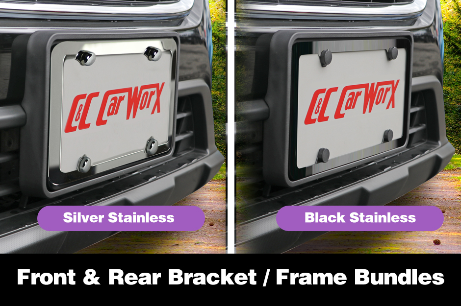 C&C_CarWorx_Bundled_License_Brackets_Frames_in_Silver_or_Black_Stainless_Steel